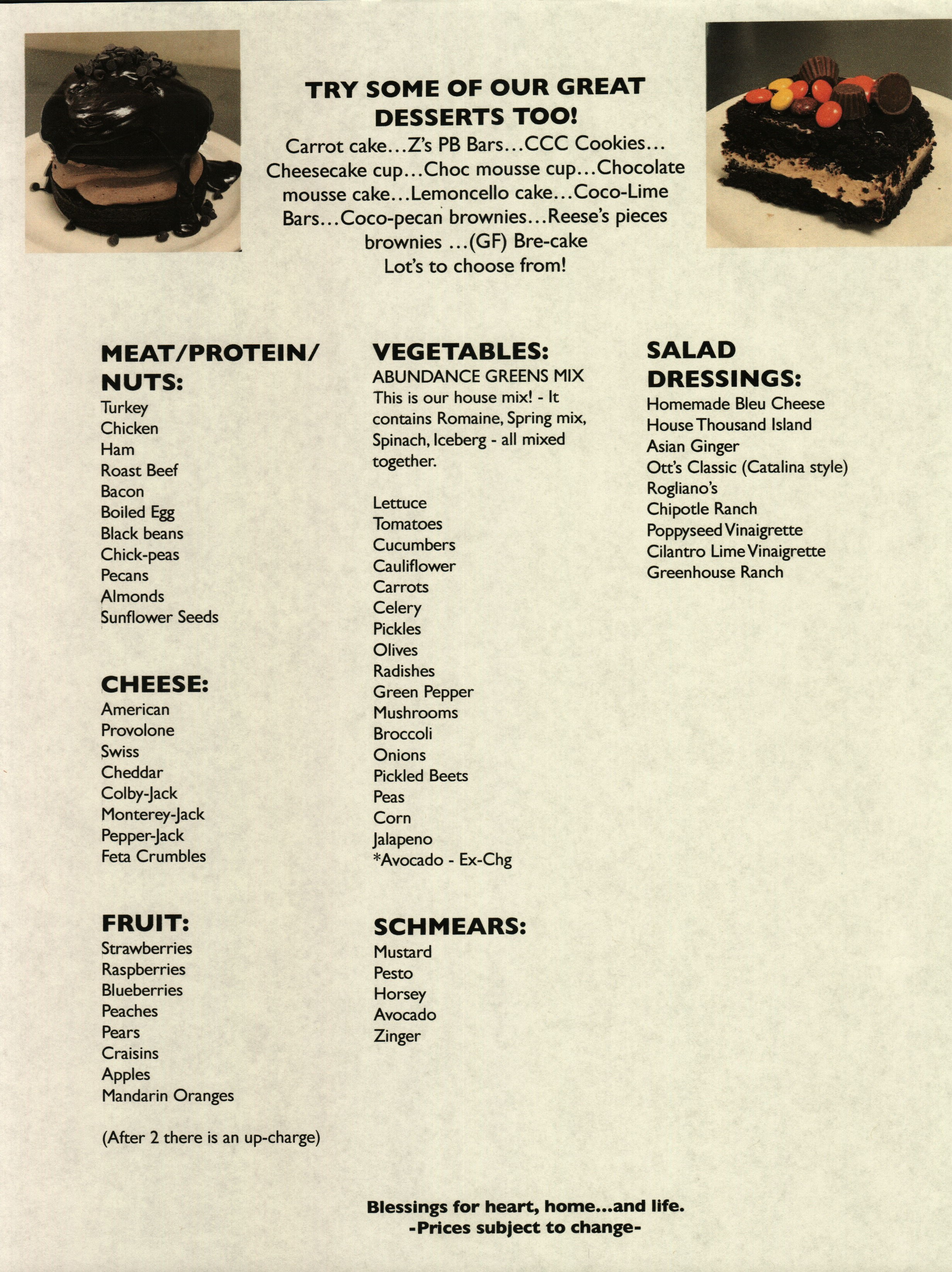 Abundance Menu Page 4